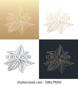 Hand drawing logo designs of cocoa beans. Vector illustration