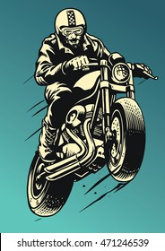Hand drawing man wheelie the cafe racer style motorcycle
