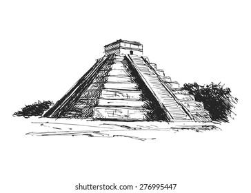 hand drawing maya pyramid