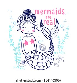 Hand drawing mermaid illustration vector for girls print design.
