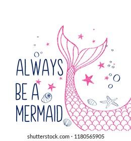 Hand drawing mermaid illustration vector for girls print design.