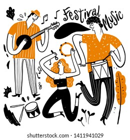 Hand drawing the musicians playing music. Vector Illustration doodle style.