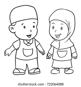 Hand Drawing Of Muslim Kids Standing Isolated On White Background Boy And Girl Students