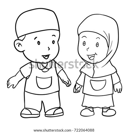 a225f336696 Hand drawing of muslim kids standing isolated on white background. Boy and  girl students standing
