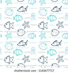 Hand drawing ocean animals pattern illustration vector.