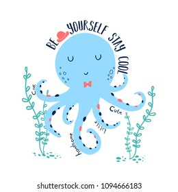 hand drawing octopus illustration vector for print t-shirt design.
