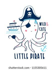 Hand drawing octopus illustration vector.