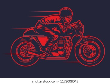 hand drawing od man riding old cafe racer motorcycle
