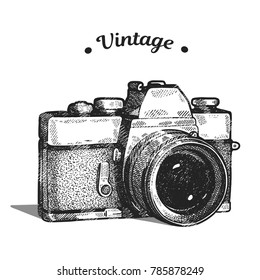 Hand drawing old graphic style of vintage film photo camera. Isolated vector illustration