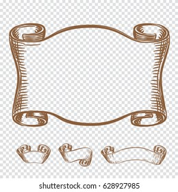 Hand drawing old ribbons set banners. Sketch style vector illustration. Ribbon in retro style