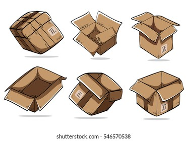 Hand drawing packing Carton Boxes