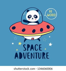 Hand drawing panda and space illustration vector.