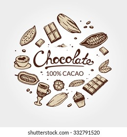 Hand drawing pattern of cacao beans, chocolate, cake, cup of hot chocolate, mug, latte. For menu and box design: horeca, cafe, bar, restaurant, cooking, bakery.