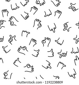 Hand drawing pattern finger gestures ok, thumb and index finger up, middle finger fuck you. Positive and negative hand painting gestures communicate, greet and express people emotions