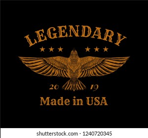 Hand drawing a pencil sketch American eagle with slogan. Print for design t-shirt.
