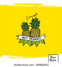 Hand drawing pineapple with banner logo vector.