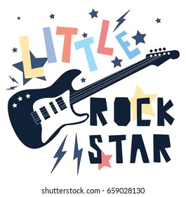 Hand drawing print design. Guitar and slogans vector illustration.