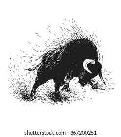 Hand drawing of a raging bull