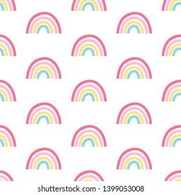 Hand drawing  rainbow pattern illustration vector.