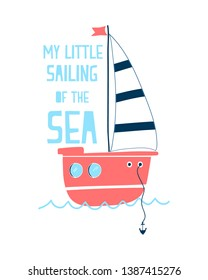 Hand drawing of sailboat vector illustration.