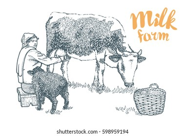Hand drawing of a seated on the wooden stool milkmaid who milks the cow. Black sheep and basket. Milk farm vector illustration isolated on white background