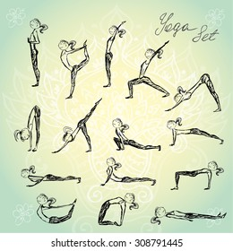 hand drawing set character woman practicing yoga for design, vector