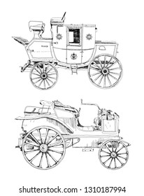Hand drawing Set of old vintage cars. Sketch collection.