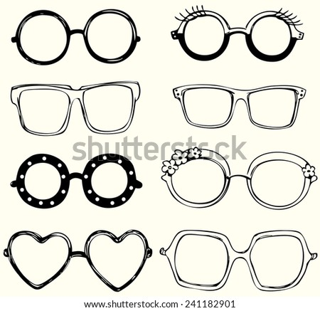 af2aeea7a42 Hand Drawing Set Sunglasses Vector Illustration Stock Vector ...