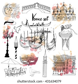Hand drawing set of Venice
