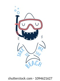 Hand drawing shark illustration vector.  print design for summer.