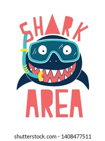 Hand drawing shark illustration vector and  print design for summer.