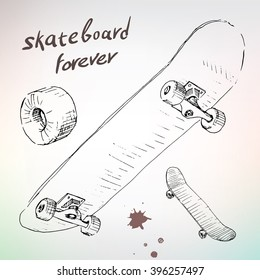 hand drawing skateboarding, extreme sketch. Line drawn