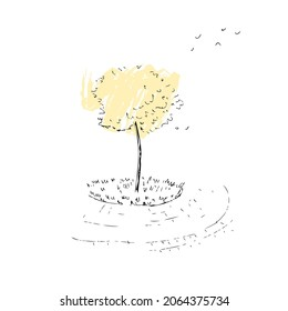 Hand drawing sketch of the autumn tree. Perfect for T-shirt, poster, textile and prints. Doodle vector illustration for decor and design.