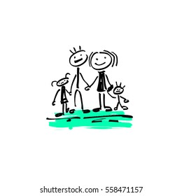 hand drawing sketch doodle human stick figure happy family father, mother, daughter and son on paint colored spot background, vector illustration