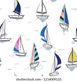 Hand drawing  sketch Seamless summer sea pattern with sailing ships on white background. Nautical pattern vector