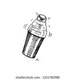 hand drawing sketch shaker black white vector
