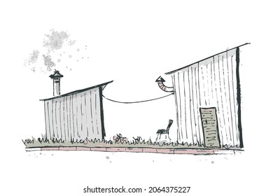 Hand drawing sketch of the urban landscape with two sheds. Perfect for T-shirt, poster, textile and prints. Doodle vector illustration for decor and design.
