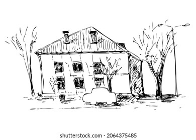 Hand drawing sketch of the urban landscape with old house. Perfect for T-shirt, poster, textile and prints. Doodle vector illustration for decor and design.