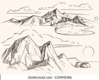 Hand drawing sketched mountain landscapes with lake, stones, clounds artwork. Vector illustration