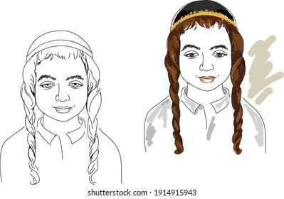 Hand drawing sketches with  hasidic jewish boy.