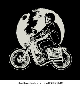 hand drawing of skull riding a vintage motorcycle
