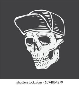 hand drawing skull wearing hat vector illustration