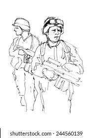 Hand drawing soldiers. Vector illustration