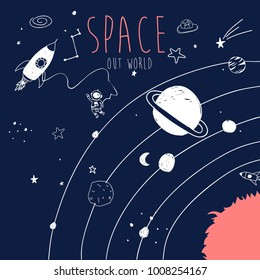 Hand drawing space illustration vector.
