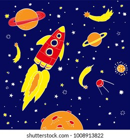 Hand drawing space illustration vector. Collection of sketchy space objects. Space ships, rockets, space shuttle, planets, flying saucers, astronauts etc.