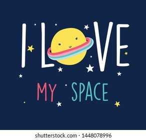 Hand drawing space and slogan illustration for girl print design vector.