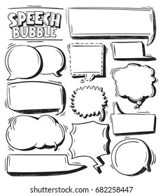Hand Drawing speech bubbles doodle set . Comic Speech Bubble