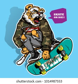 hand drawing style of angry tiger riding skateboard