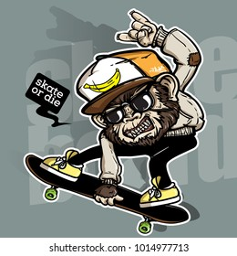 hand drawing style of crazy monkey riding skateboard