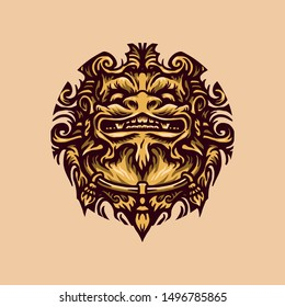 Hand drawing style with a foo dog object use simple colors